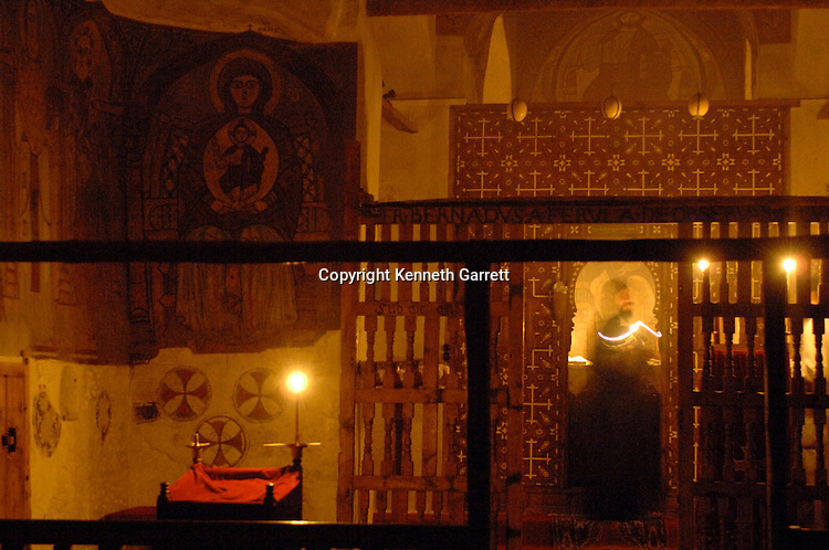 Interior of Saint Anthony's Monastery, Coptic monks, alter, icons, Egypt, Gospel of Judas; Codex Tchacos; Critical Edition, Gnostic text;Geneva