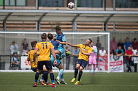 Dominic Gape of Wycombe Wanderers wins the ball in the air during the pre season friendly match between Slough Town and Wycombe Wanderers at Arbour Park Stadium, Slough, England on 8 July 2017. Photo by Andy Rowland.