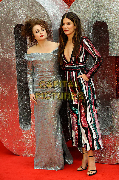 LONDON, ENGLAND - JUNE 13: Helena Bonham Carter and Sandra Bullock attending 'Ocean's 8' UK Premiere at Cineworld, Leicester Square on June 13, 2018 in London, England.<br /> CAP/MAR<br /> &copy;MAR/Capital Pictures