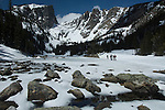 skiers in winter landscape, Hallett Peak above Dream Lake, snow, Rocky Mountain National Park, May, Colorado, USA
