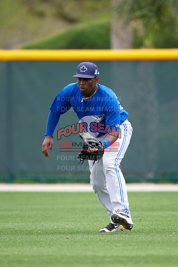 Toronto Blue Jays DJ McKnight (84) during practice before a minor league Spring Training game against the Pittsburgh Pirates on March 24, 2016 at Pirate City in Bradenton, Florida.  (Mike Janes/Four Seam Images)