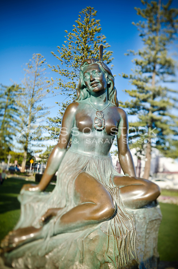 Famous statue 'Pania of the Reef' on Marine Parade in Napier, Hawkes Bay, New Zealand