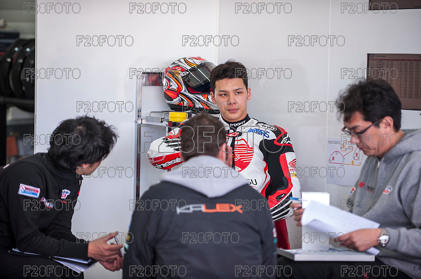 Takaaki Nakagami in his box at pre season winter test IRTA Moto3 & Moto2 at Ricardo Tormo circuit in Valencia (Spain), 11-12-13 February 2014