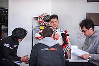 Takaaki Nakagami in his box at pre season winter test IRTA Moto3 & Moto2 at Ricardo Tormo circuit in Valencia (Spain), 11-12-13 February 2014
