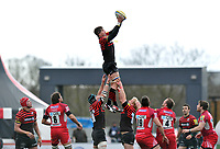 Ernst Joubert rises high to win lineout ball. Aviva Premiership match, between Saracens and London Welsh on March 3, 2013 at Allianz Park in London, England. Photo by: Patrick Khachfe / Onside Images