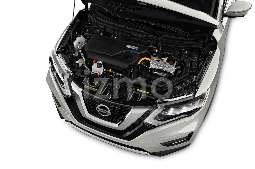 Car Stock 2017 Nissan Rogue SL-Hybrid 5 Door SUV Engine  high angle detail view