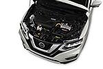 Car Stock 2017 Nissan Rogue SL-Hybrid 5 Door SUV Engine  high angle detail view