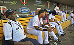 29 September 2012: Minnesota Twins security guard Thomas B. sits in the dugout during a game against the Detroit Tigers at Target Field in Minneapolis, MN. The Tigers defeated the Twins 6-4 in the second game of their 3-game series. Mandatory Credit: Ed Wolfstein Photo
