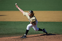 Wake Forest Demon Deacons starting pitcher Colin Peluse (8) delivers a pitch to the plate against the Gardner-Webb Runnin' Bulldogs at David F. Couch Ballpark on February 18, 2018 in  Winston-Salem, North Carolina.  The Demon Deacons defeated the Runnin' Bulldogs 8-4 in game one of a double-header.  (Brian Westerholt/Four Seam Images)