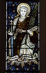 Mary Anne Garrett Memorial stained glass window  female martyrs 1897, Church of Saint Margaret, Leiston, Suffolk, England, UK Saint Euphemia by C.E. Kempe ( 1837-1907)
