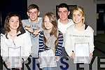 SMILES: Delighted with their Leraving Cert results were students from Intermediate School, Killorglin on Wednesday . L-r: Niamh Clifford, John O'Shea and Bláth Buckley (Killorglin),Jason Culloty (Killarney) and Aisling O'Shea (Killorglin.....