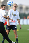 07 December 2007: Notre Dame's Carrie Dew and head coach Randy Waldrum. The Florida State Seminoles defeated the University of Notre Dame Fighting Irish played 3-2 at the Aggie Soccer Stadium in College Station, Texas in a NCAA Division I Womens College Cup semifinal game.