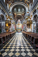 Interior view of Church of St. Nicholas, Ljubljana, Slovenia