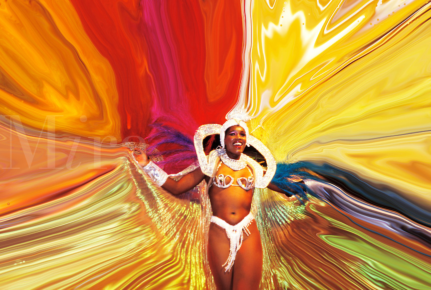 Color energy and costumes at Carnival in Rio de Janeiro, Brazil