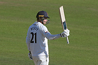 Tom Westley of Essex raises his bat to celebrate reaching his fifty during Nottinghamshire CCC vs Essex CCC, Specsavers County Championship Division 1 Cricket at Trent Bridge on 13th September 2018