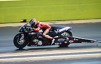 Sept. 22, 2012; Ennis, TX, USA: NHRA pro stock motorcycle rider Matt Smith during qualifying for the Fall Nationals at the Texas Motorplex. Mandatory Credit: Mark J. Rebilas-