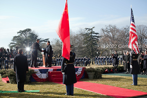 United States President Barack Obama and President Hu Jintao of China shake hands at the conclusion of the State Arrival ceremony on the South Lawn of the White House, Wednesday, January 19, 2011. .Mandatory Credit: Pete Souza - White House via CNP