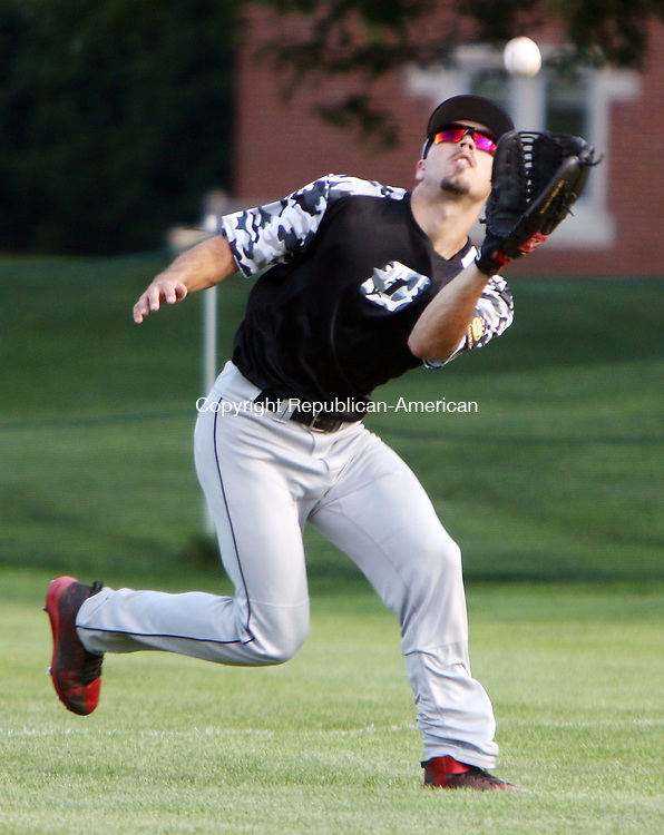 WATERTOWN CT. 18 July 2017-071817SV06-#23 Andrew Minchella of Oakville Post 195 catches the 3rd out of the first inning in right field against Stamford Post 3 during Legion baseball action in Watertown Tuesday.<br /> Steven Valenti Republican-American