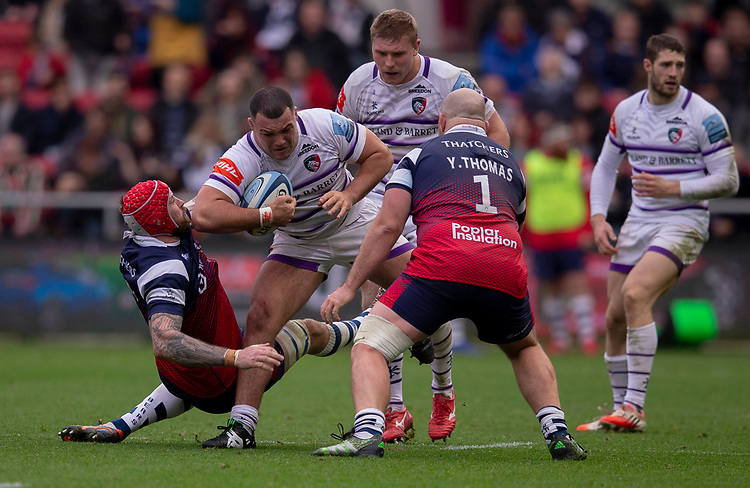 Leicester Tigers' Ellis Genge in action during todays match<br /> <br /> Photographer Bob Bradford/CameraSport<br /> <br /> Gallagher Premiership - Bristol Bears v Leicester Tigers - Saturday 1st December 2018 - Ashton Gate - Bristol<br /> <br /> World Copyright &copy; 2018 CameraSport. All rights reserved. 43 Linden Ave. Countesthorpe. Leicester. England. LE8 5PG - Tel: +44 (0) 116 277 4147 - admin@camerasport.com - www.camerasport.com