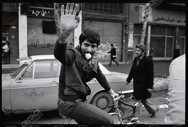 Iranians celebrate the Shah's departure. Tehran, January 16, 1979.