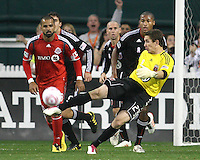 Troy Perkins #23 of D.C. United makes a clearance during an MLS match against Toronto FC that was the final appearance of D.C. United's Jaime Moreno at RFK Stadium, in Washington D.C. on October 23, 2010. Toronto won 3-2.