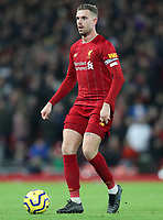 2nd January 2020; Anfield, Liverpool, Merseyside, England; English Premier League Football, Liverpool versus Sheffield United; Jordan Henderson of Liverpool looks up before passing the ball  - Strictly Editorial Use Only. No use with unauthorized audio, video, data, fixture lists, club/league logos or 'live' services. Online in-match use limited to 120 images, no video emulation. No use in betting, games or single club/league/player publications