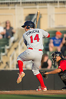 Damek Tomscha (14) of the Lakewood BlueClaws at bat against the Kannapolis Intimidators at Kannapolis Intimidators Stadium on May 7, 2016 in Kannapolis, North Carolina.  The Intimidators defeated the BlueClaws 12-3.  (Brian Westerholt/Four Seam Images)