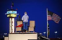 Apr 16, 2009; Avondale, AZ, USA; NASCAR Camping World Series West fans stand during the national anthem prior to the Jimmie Johnson Foundation 150 at Phoenix International Raceway. Mandatory Credit: Mark J. Rebilas-