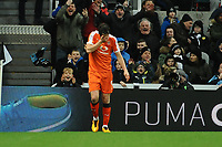 Danny Hylton of Luton Town realises his second goal has been ruled out for offside during Newcastle United vs Luton Town, Emirates FA Cup Football at St. James' Park on 6th January 2018