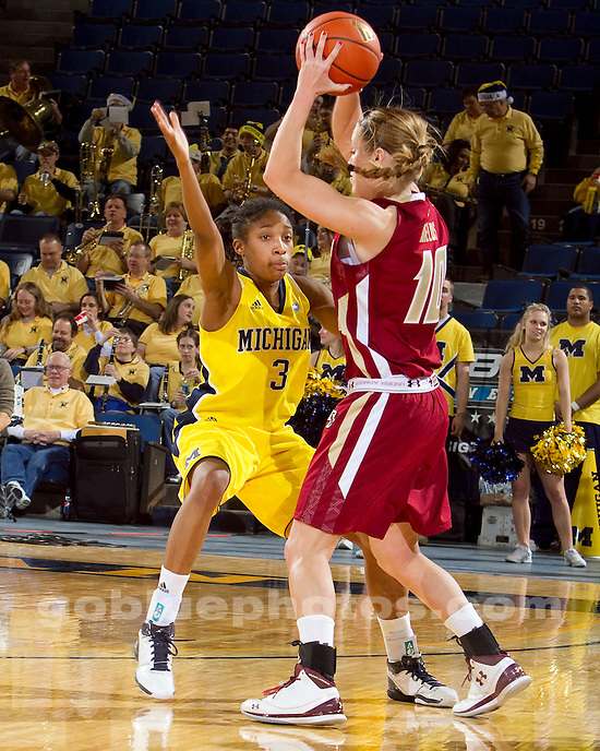 University of Michigan women's basketball 68-55 victory over previously undefeated and #24 Boston College at Crisler Arena in Ann Arbor, MI, on December 22, 2010.