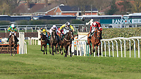 14h April 2018, Aintree Racecourse, Liverpool, England; The 2018 Grand National horse racing festival sponsored by Randox Health, day 3;  Tiger Roll ridden by Davy Russell leads from Pleasant Company ridden by David Mullins during the run in for The Grand National