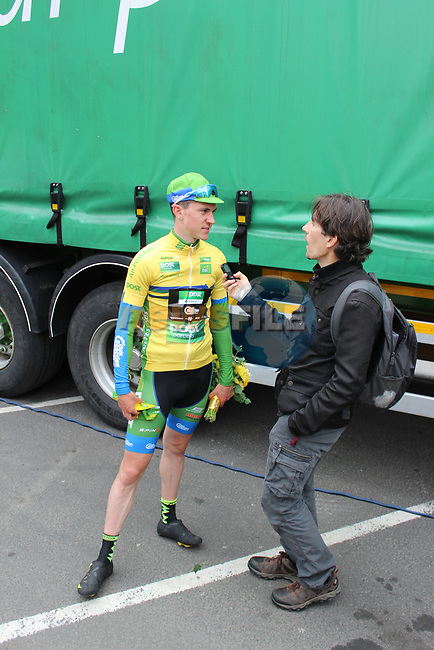 New Race leader Matthew Teggart An Post Chain Reaction talks with Shane Stokes after Stage 4 of the 2017 An Post Ras running 151.8km from Bundoran to Buncrana, Ireland. 24th May 2017.<br /> Picture: Andy Brady | Cyclefile<br /> <br /> <br /> All photos usage must carry mandatory copyright credit (&copy; Cyclefile | Andy Brady)