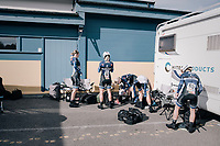 Team Hitec Products getting ready for the start<br /> <br /> Women's Team Time Trial<br /> <br /> UCI 2017 Road World Championships - Bergen/Norway