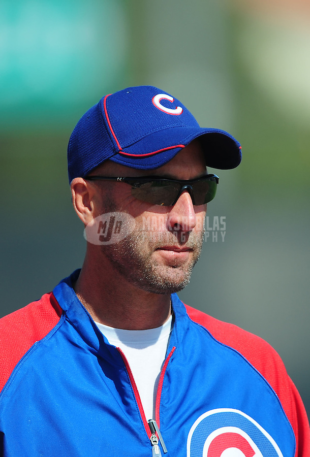 Feb. 29, 2012; Mesa, AZ, USA; Chicago Cubs manager Dale Sveum during spring training workouts at Fitch Park.  Mandatory Credit: Mark J. Rebilas-.