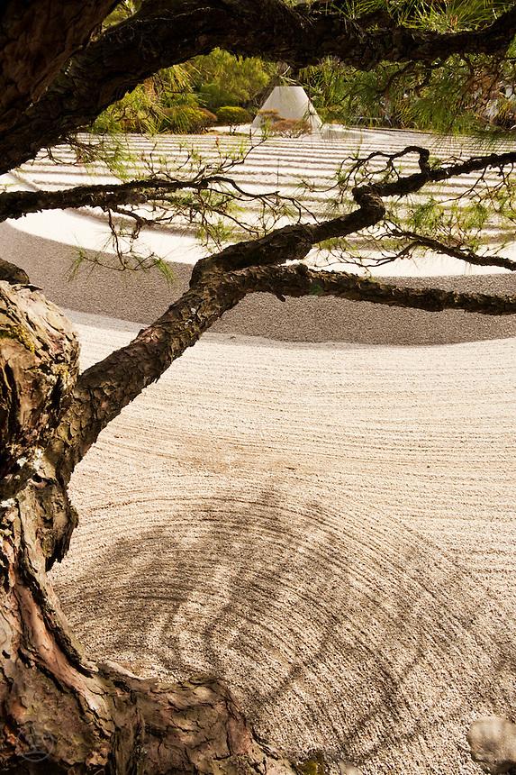 "A sculpted pine tree frames the famous pebble ""Mount Fuji"" at Ginkaku-ji Garden, Kyoto, Japan."