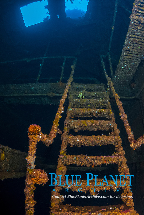 Stairs, Engine room, encrusted, rusty, sky lights, catwalks, Operation Hailstone, Wreck, WWII, Japanese shipwreck, Fujikawa Maru, Truk, Chuuk Lagoon, Micronesia, Pacific Ocean