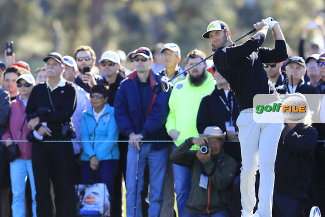 Dustin Johnson (USA) tees off the 13th tee during Friday's Round 2 of the 2017 Farmers Insurance Open held at Torrey Pines Golf Course, La Jolla, San Diego, California, USA.<br /> 27th January 2017.<br /> Picture: Eoin Clarke | Golffile<br /> <br /> <br /> All photos usage must carry mandatory copyright credit (&copy; Golffile | Eoin Clarke)