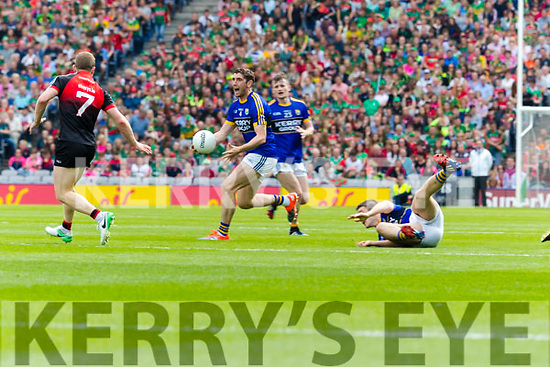 Killian Young Kerry in action against Colm Boyle Mayo in the All Ireland Semi Final Replay in Croke Park on Saturday.