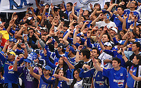 BOGOTA- COLOMBIA -04 -02-2014: Hinchas de Millonarios animan a su equipo durante partido de la cuarta fecha de la Liga Postobon I 2014, jugado en el Nemesio Camacho El Campin de la ciudad de Bogota. / Fans of Millonarios cheer their team during a match for the fourth date of the Liga Postobon I 2014 at the Nemesio Camacho El Campin Stadium in Bogoto city. Photo: Luis Ramirez / Staff