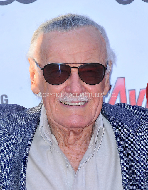 WWW.ACEPIXS.COM<br /> <br /> April 13 2015, LA<br /> <br /> Stan Lee arriving at the Premiere Of Marvel's 'Avengers: Age Of Ultron' at the Dolby Theatre on April 13, 2015 in Hollywood, California.<br /> <br /> <br /> By Line: Peter West/ACE Pictures<br /> <br /> <br /> ACE Pictures, Inc.<br /> tel: 646 769 0430<br /> Email: info@acepixs.com<br /> www.acepixs.com