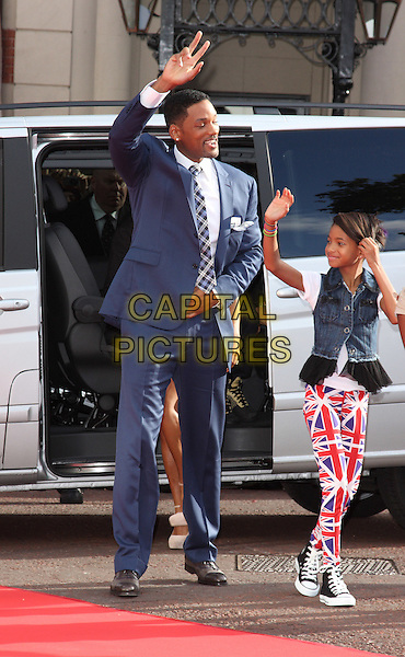 WILL SMITH & WILLOW SMITH .UK Gala Film Premiere of 'The Karate Kid' at the Odeon Leicester Square, London, England, UK, July 15th 2010.arrivals full length blue shirt white tie suit hand tartan plaid checked check hand waving father dad daughter family union jack trousers flag denim sleeveless jacket waistcoat converse trainers hi-tops .CAP/ROS.©Steve Ross/Capital Pictures