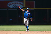 Kansas City Royals shortstop Cristian Perez (11) makes a throw to first base during an Instructional League game against the Arizona Diamondbacks at Chase Field on October 14, 2017 in Scottsdale, Arizona. (Zachary Lucy/Four Seam Images)