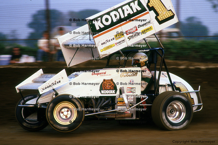 Sammy Swindell drives in the 1987 World of Outlaws race near Kokomo, Indiana.