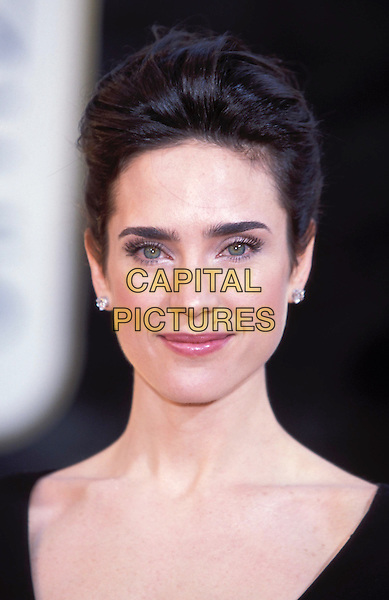 JENNIFER CONNELLY .Golden Globe Awards 2002.Golden Globes.black, portrait headshot, diamond earrings, hair up.sales@capitalpictures.com.www.capitalpictures.com.©Capital Pictures