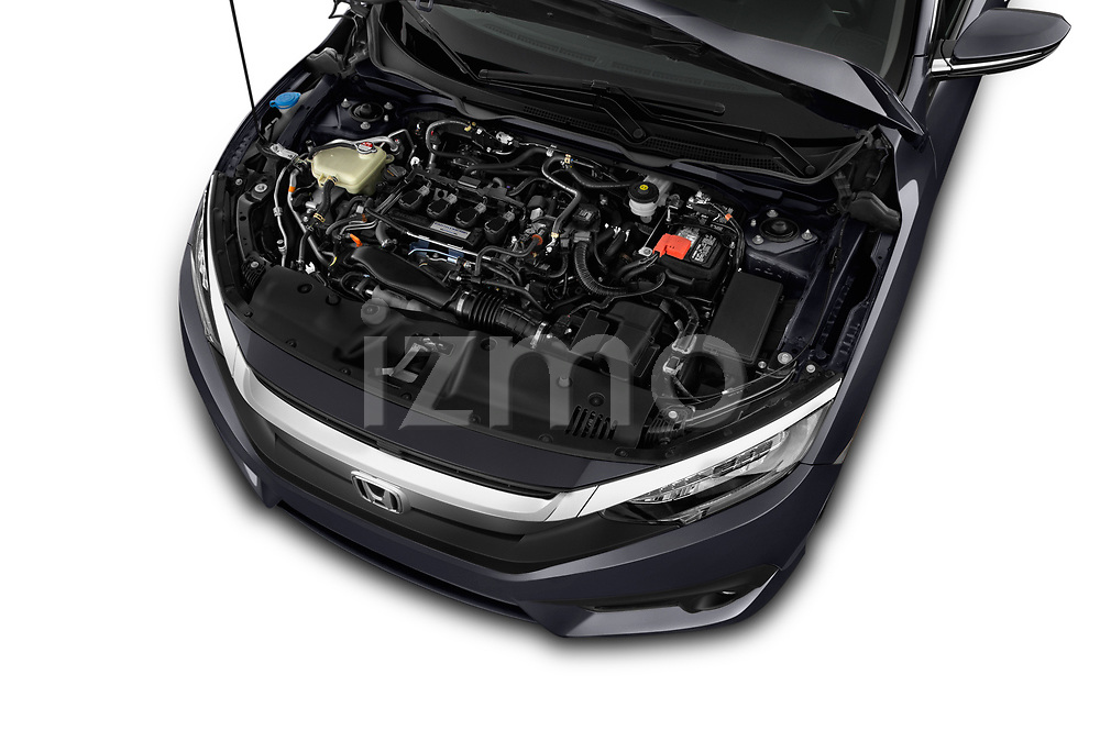 Car stock 2019 Honda Civic Elegance 4 Door Sedan engine high angle detail view