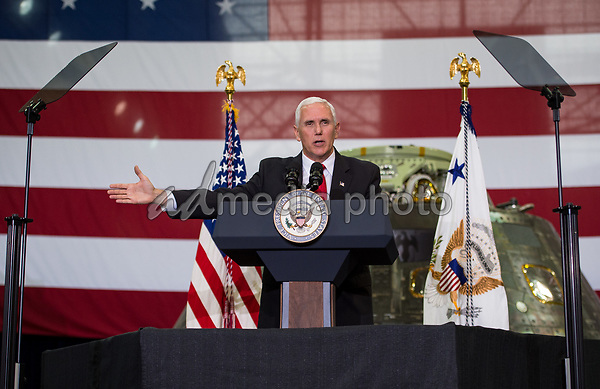 In this photo released by the National Aeronautics and Space Administration (NASA) United States Vice President Mike Pence addresses NASA employees, Thursday, July 6, 2017, at the Vehicle Assembly Building at NASAís Kennedy Space Center (KSC) in Cape Canaveral, Florida. The Vice President thanked employees for advancing American leadership in space, following a tour that highlighted the public-private partnerships at KSC, as both NASA and commercial companies prepare to launch American astronauts from the multi-user spaceport. Photo Credit: Aubrey Gemignani/NASA/CNP/AdMedia