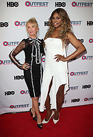 "LOS ANGELES, CA- Trudie Styler, Lavern Cox, At 2017 Outfest Los Angeles LGBT Film Festival - Closing Night Gala Screening Of ""Freak Show"" at The Theatre at Ace Hotel, California on July 16, 2017. Credit: Faye Sadou/MediaPunch"