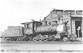 3/4 engineer's-side view of C-19 #345 at C&amp;S roundhouse in Denver with &quot;bear-trap&quot; cinder catcher.<br /> D&amp;RGW  Denver, CO