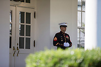 A United States Marine stands guard outside the Northern entrance to the West Wing of the White House in Washington, DC on Thursday, September 28, 2017.<br /> Credit: Alex Edelman / CNP /MediaPunch