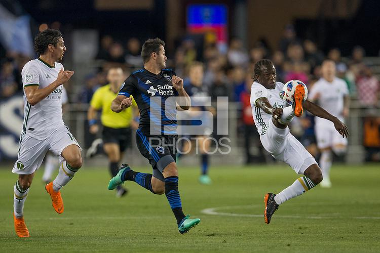 Santa Clara, CA - Saturday, May 5, 2018: San Jose Earthquakes lost to Portland 1-0 at the Avaya Stadium in Santa Clara.